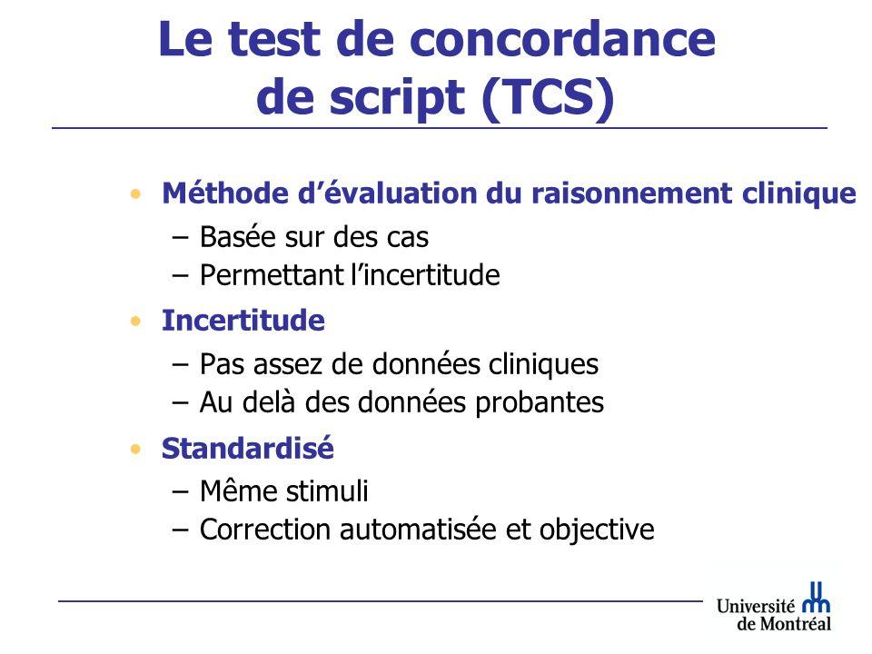Le test de concordance de script (TCS)