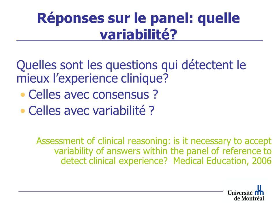 Réponses sur le panel: quelle variabilité