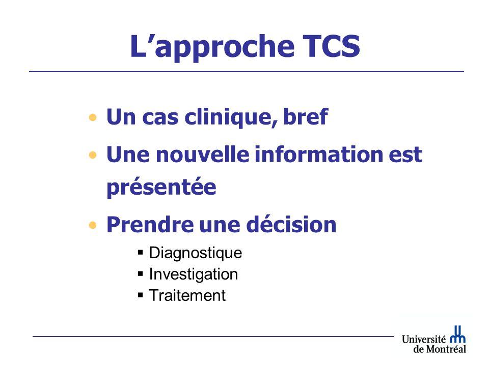L'approche TCS Un cas clinique, bref