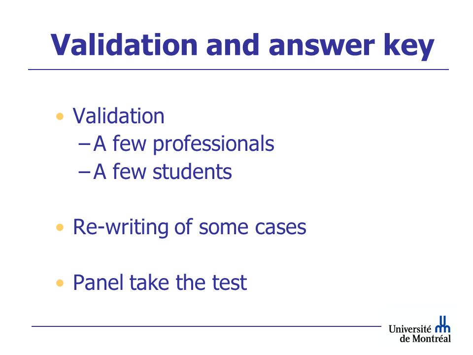 Validation and answer key