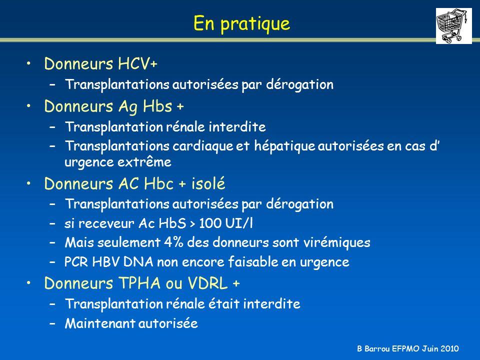 En pratique Donneurs HCV+ Donneurs Ag Hbs + Donneurs AC Hbc + isolé