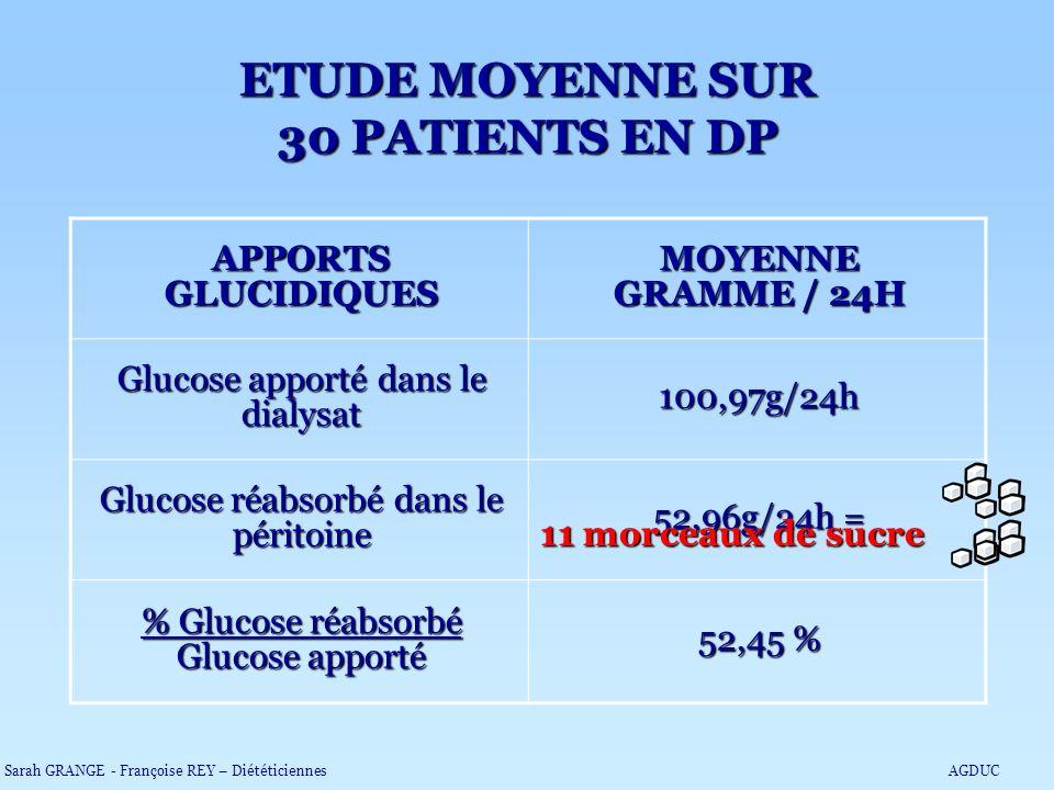 ETUDE MOYENNE SUR 30 PATIENTS EN DP