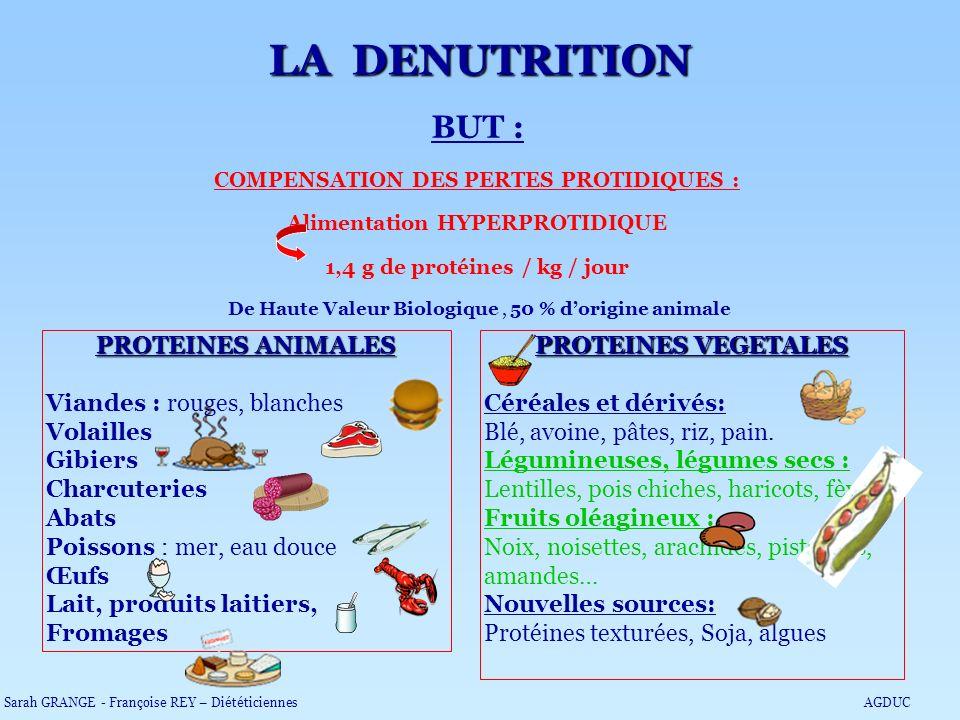COMPENSATION DES PERTES PROTIDIQUES : Alimentation HYPERPROTIDIQUE