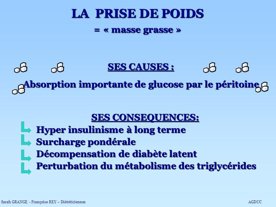 LA PRISE DE POIDS = « masse grasse »