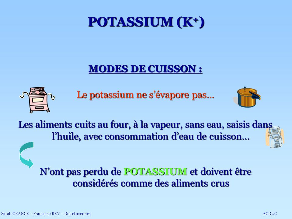 Le potassium ne s'évapore pas…