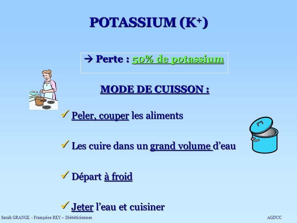 POTASSIUM (K+)  Perte : 50% de potassium MODE DE CUISSON :