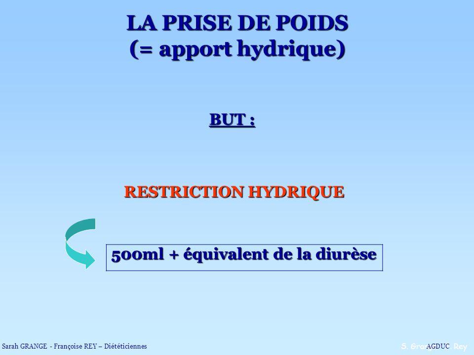 LA PRISE DE POIDS (= apport hydrique)