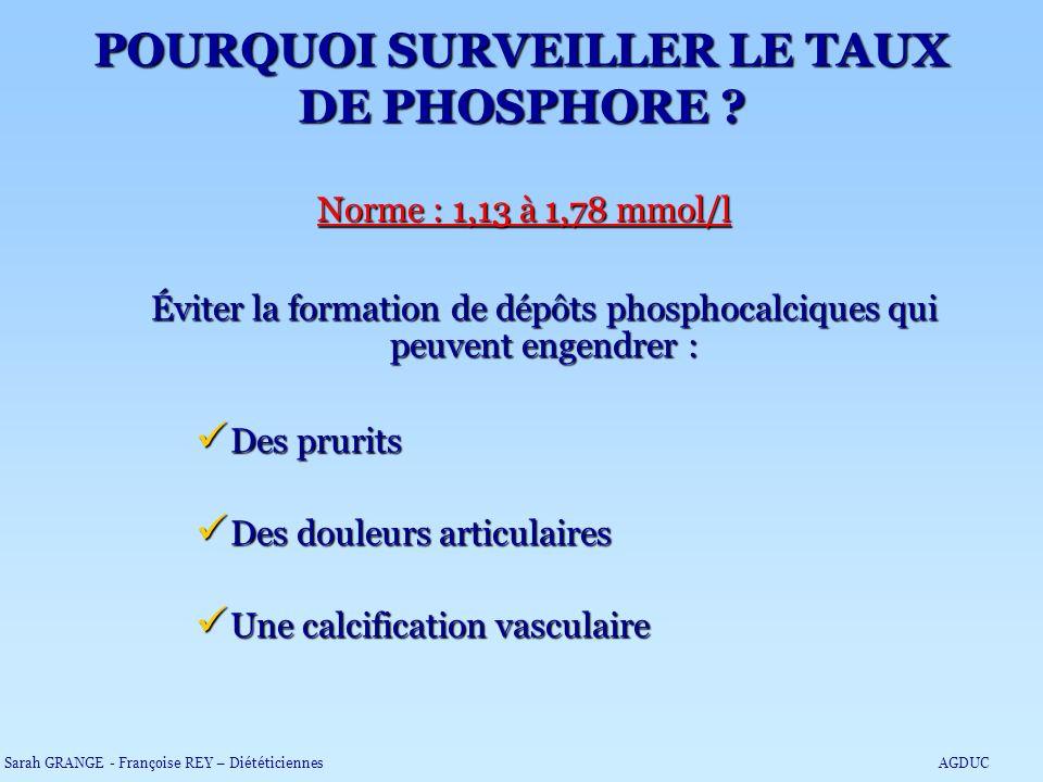 POURQUOI SURVEILLER LE TAUX DE PHOSPHORE