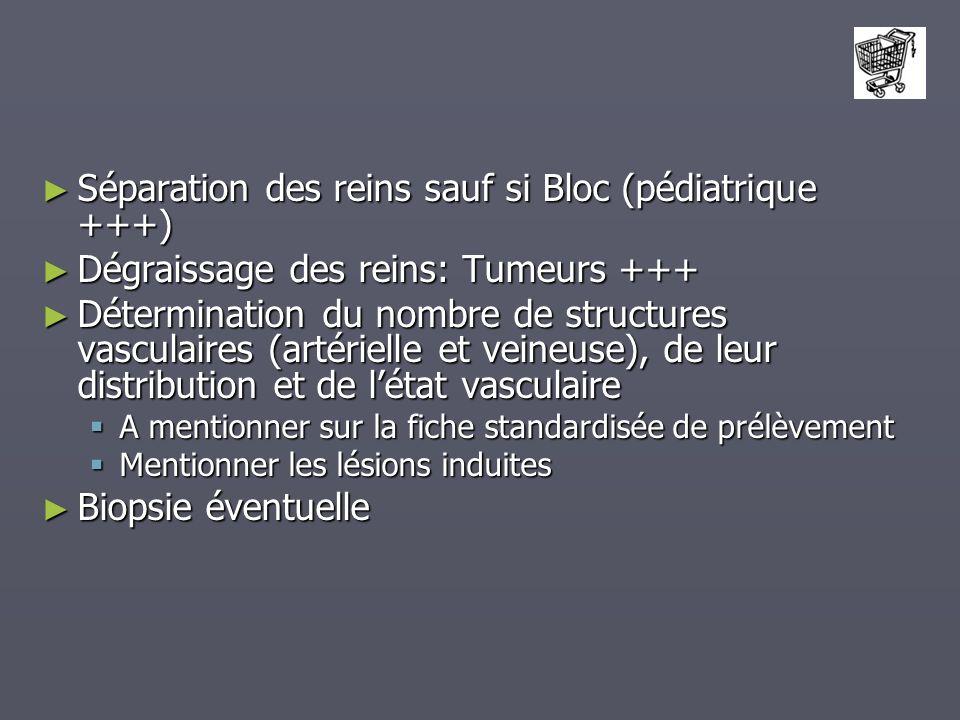 Séparation des reins sauf si Bloc (pédiatrique +++)