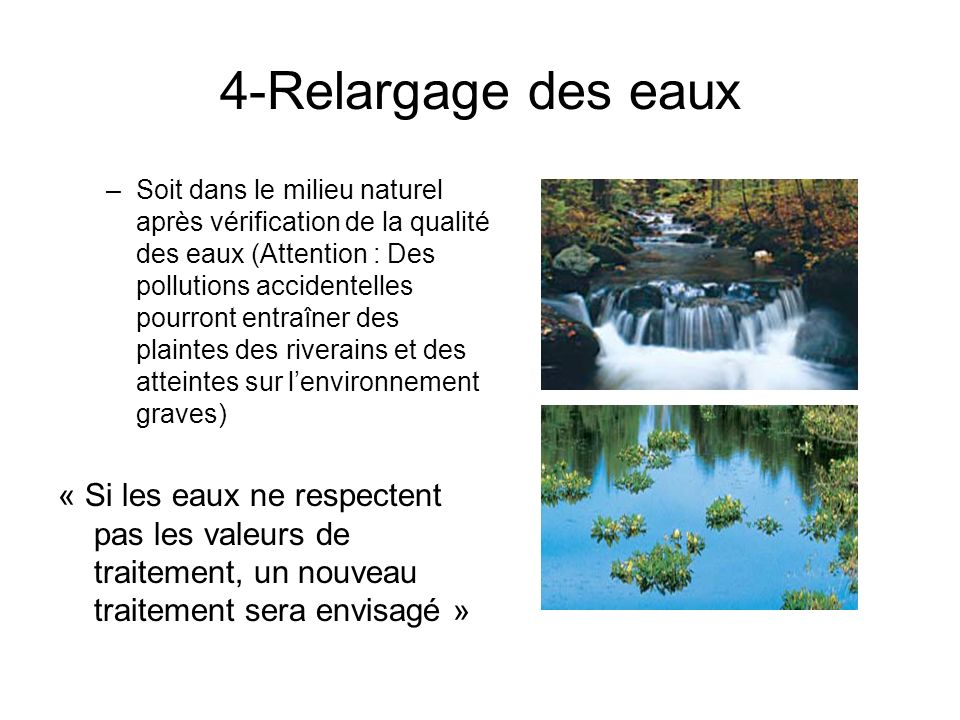 4-Relargage des eaux