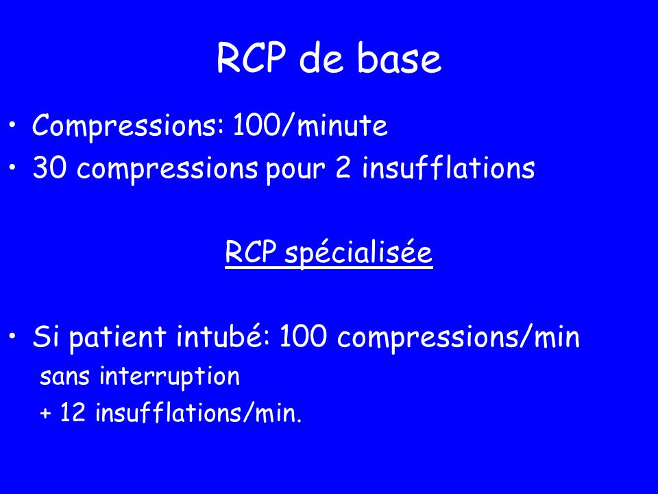 RCP de base Compressions: 100/minute