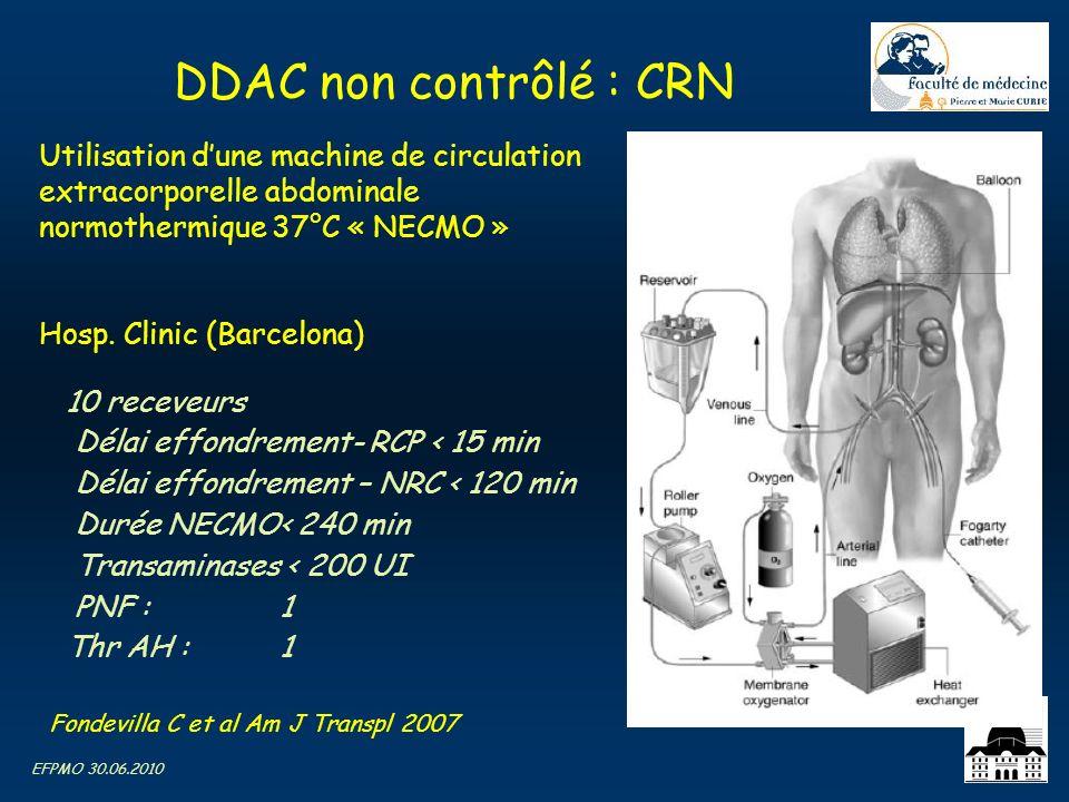 DDAC non contrôlé : CRN Utilisation d'une machine de circulation extracorporelle abdominale normothermique 37°C « NECMO »