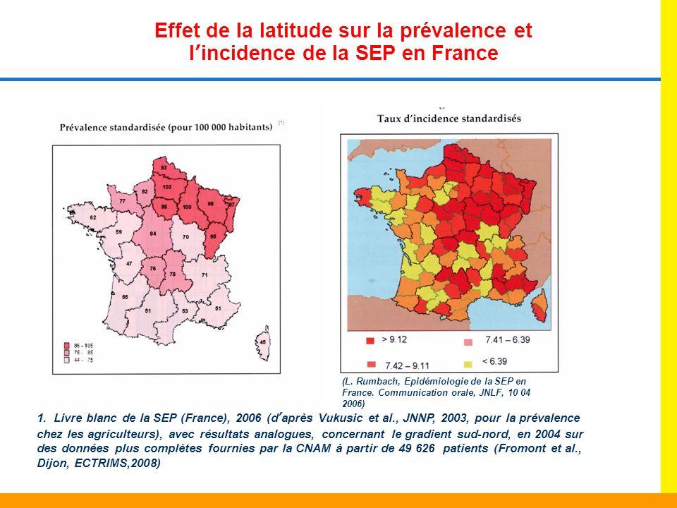 Effet de la latitude sur la prévalence et l'incidence de la SEP en France