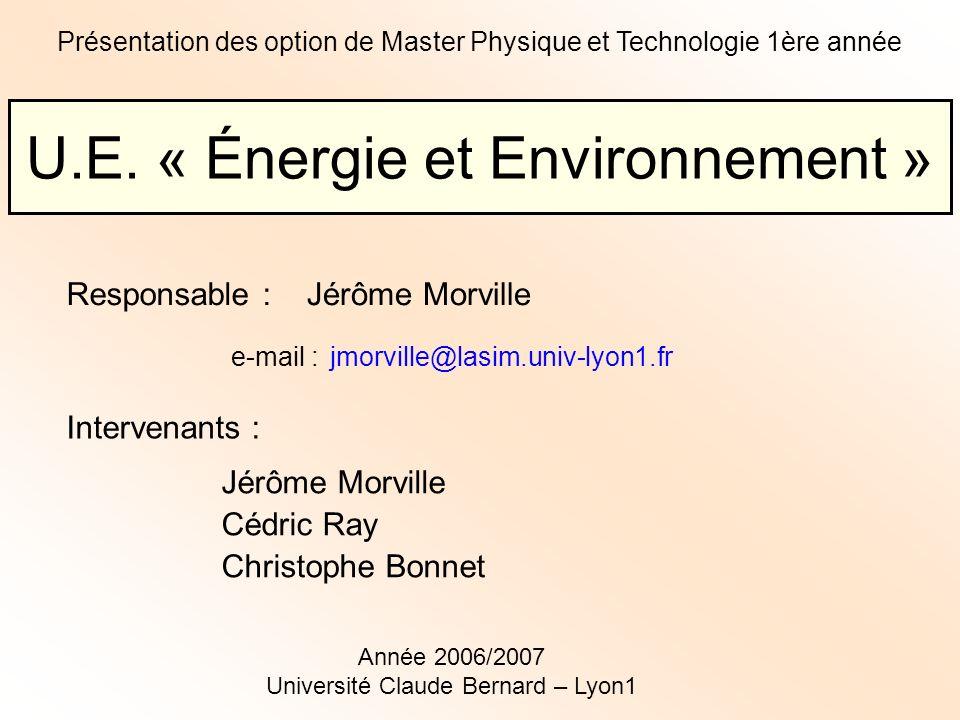 U.E. « Énergie et Environnement »