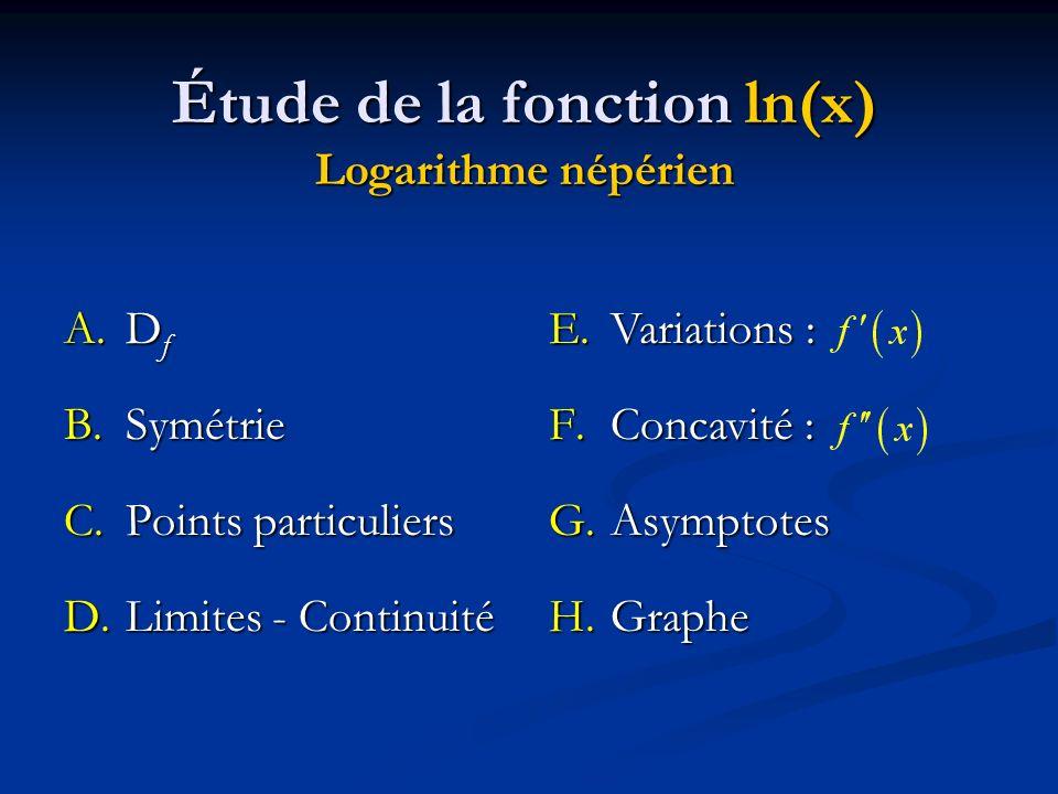 Étude de la fonction ln(x) Logarithme népérien