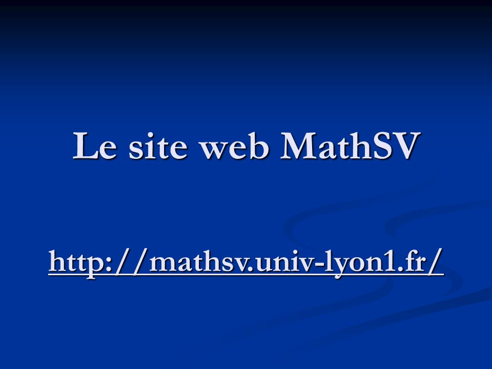 Le site web MathSV