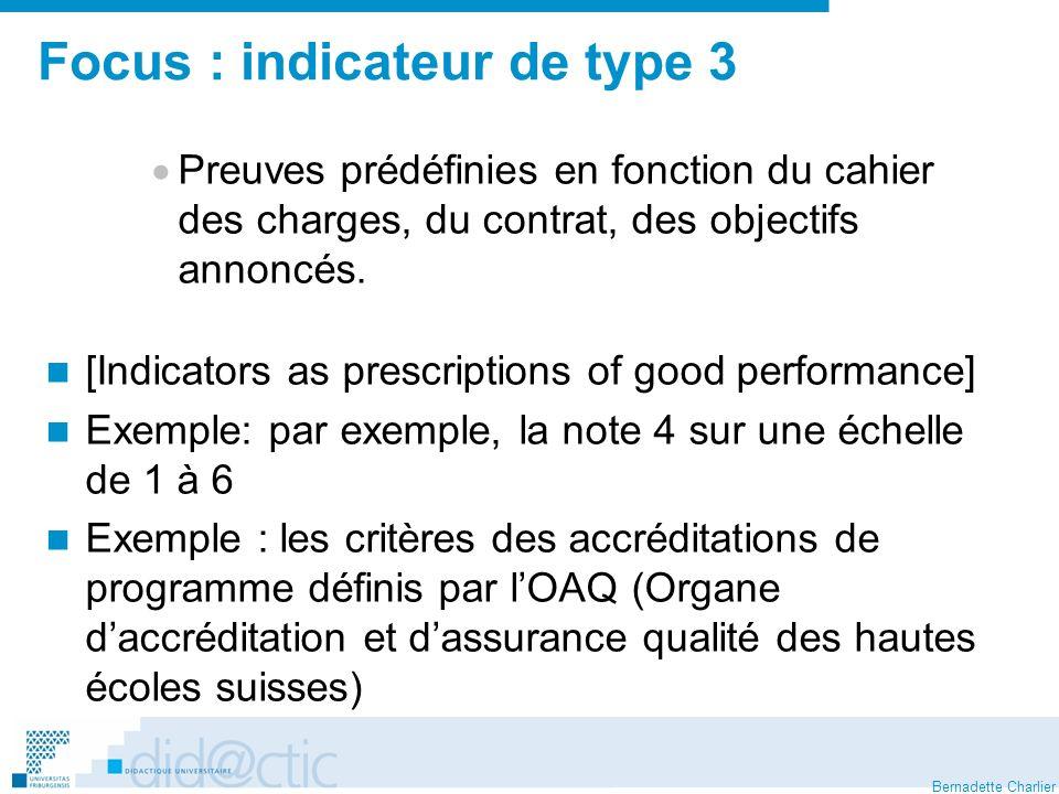 Focus : indicateur de type 3