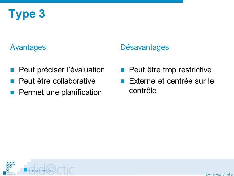 Type 3 Avantages Peut préciser l'évaluation Peut être collaborative