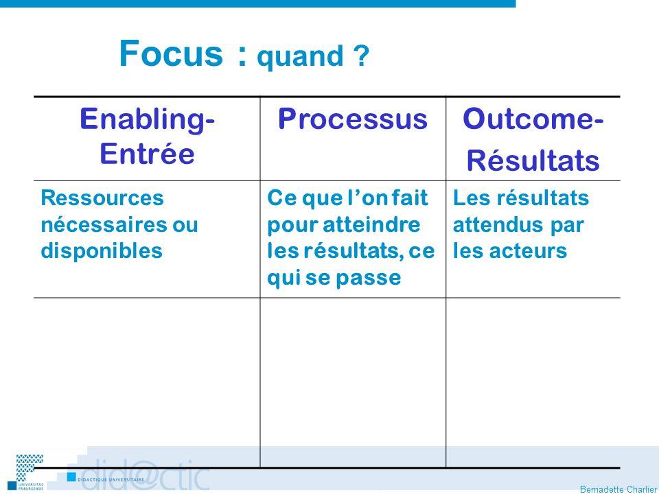 Focus : quand Enabling- Entrée Processus Outcome- Résultats