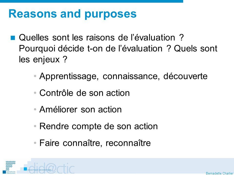 Reasons and purposes Quelles sont les raisons de l'évaluation Pourquoi décide t-on de l'évaluation Quels sont les enjeux