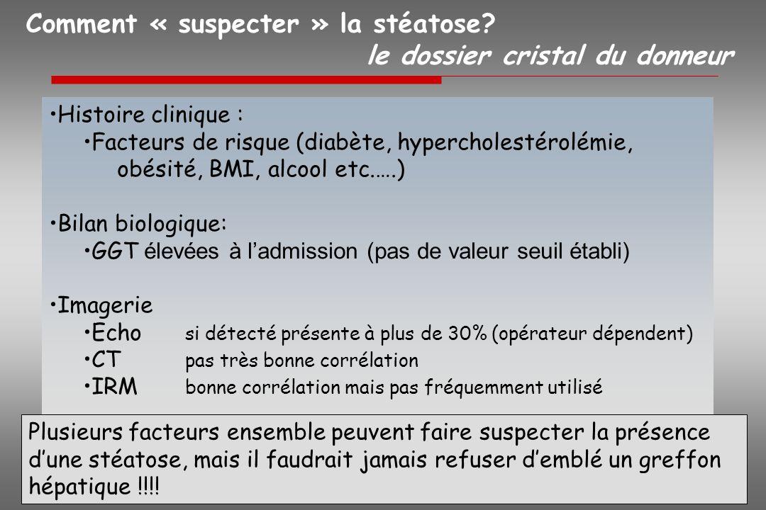 Comment « suspecter » la stéatose le dossier cristal du donneur