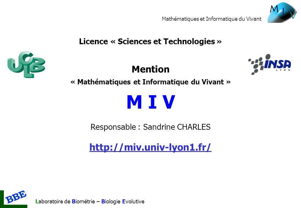 Responsable : Sandrine CHARLES http://miv.univ-lyon1.fr/