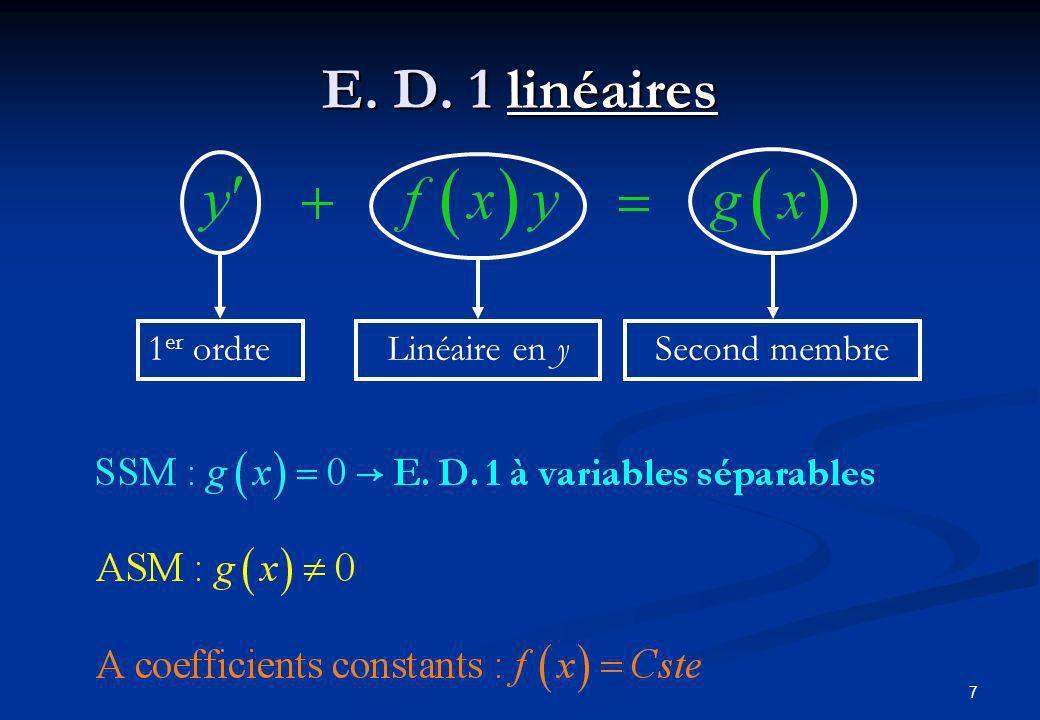 E. D. 1 linéaires 1er ordre Linéaire en y Second membre
