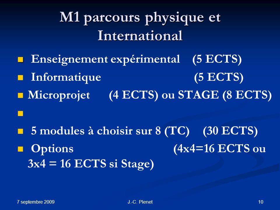 M1 parcours physique et International