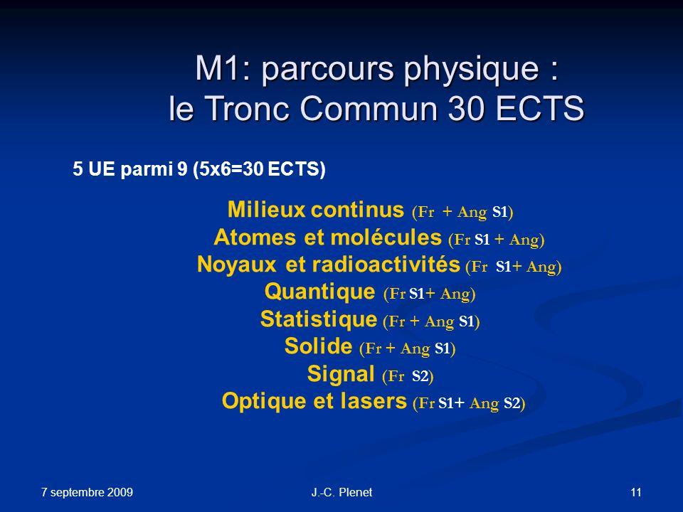 M1: parcours physique : le Tronc Commun 30 ECTS