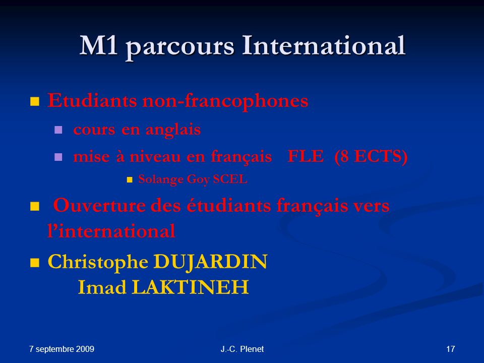M1 parcours International