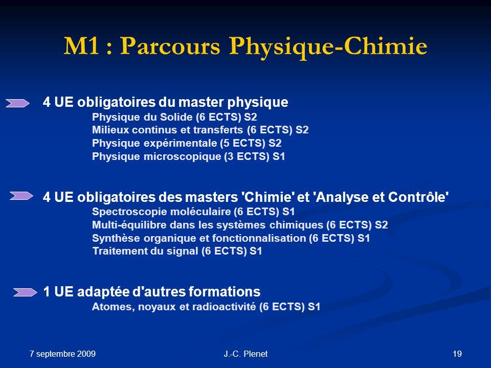 M1 : Parcours Physique-Chimie