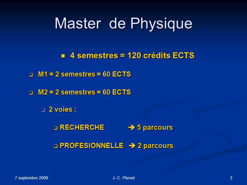 4 semestres = 120 crédits ECTS