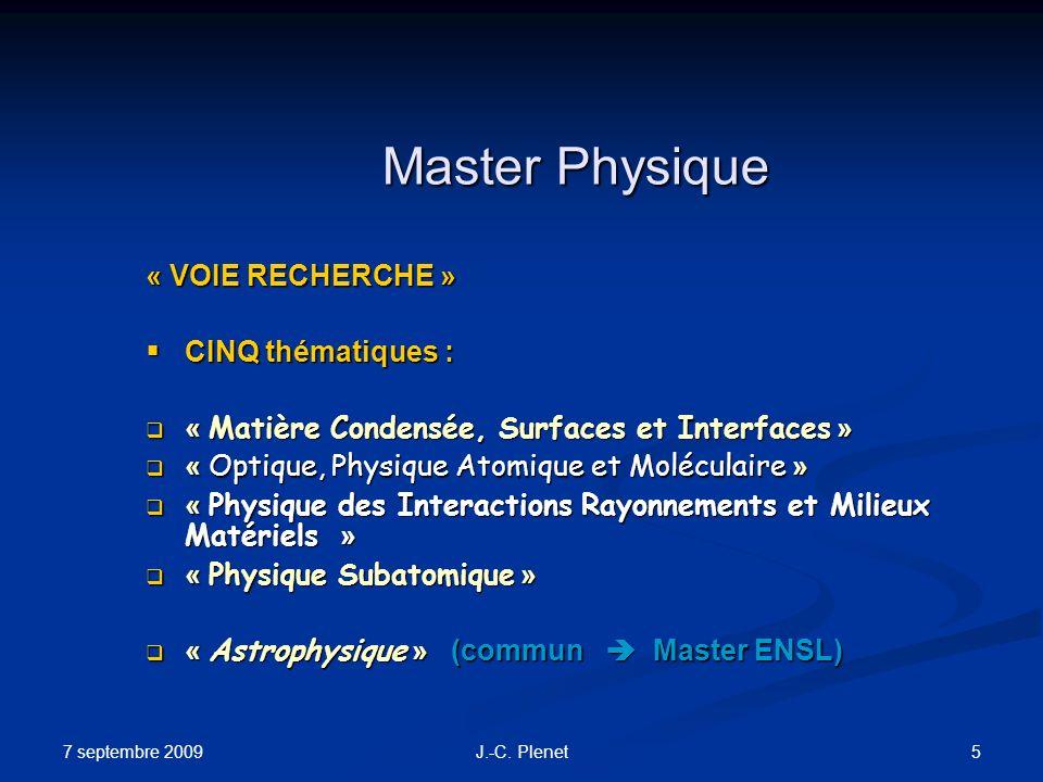 Master Physique « VOIE RECHERCHE » CINQ thématiques :