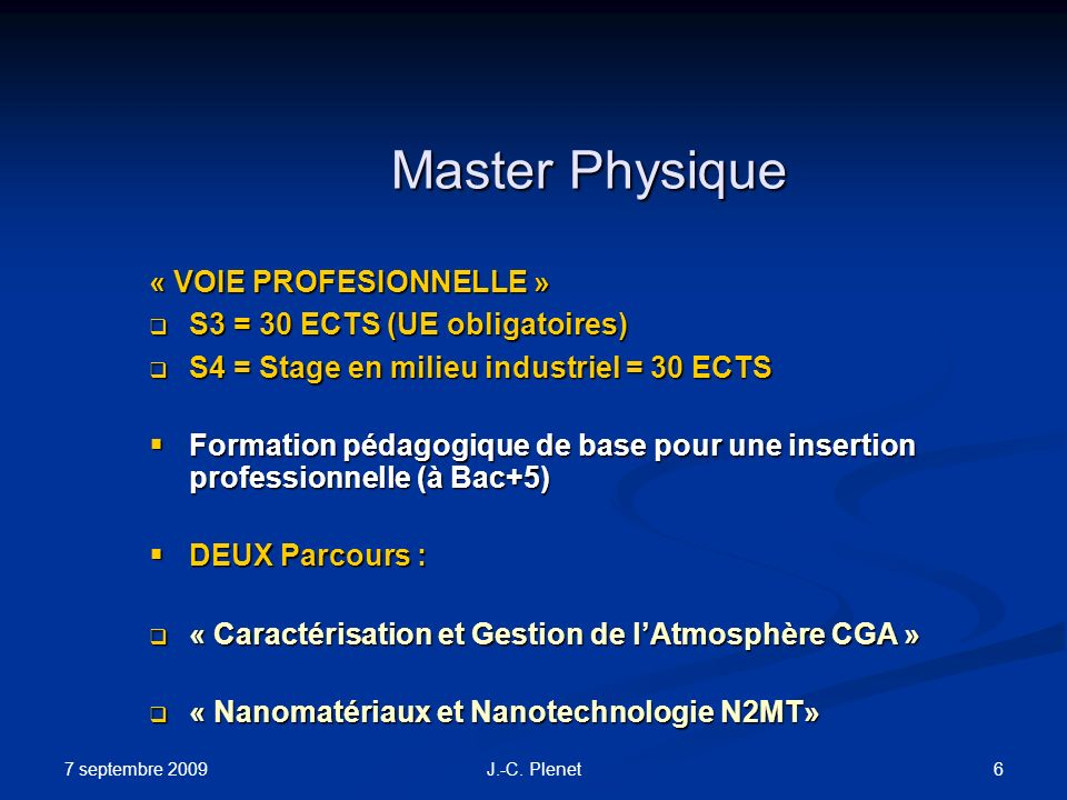 Master Physique « VOIE PROFESIONNELLE » S3 = 30 ECTS (UE obligatoires)