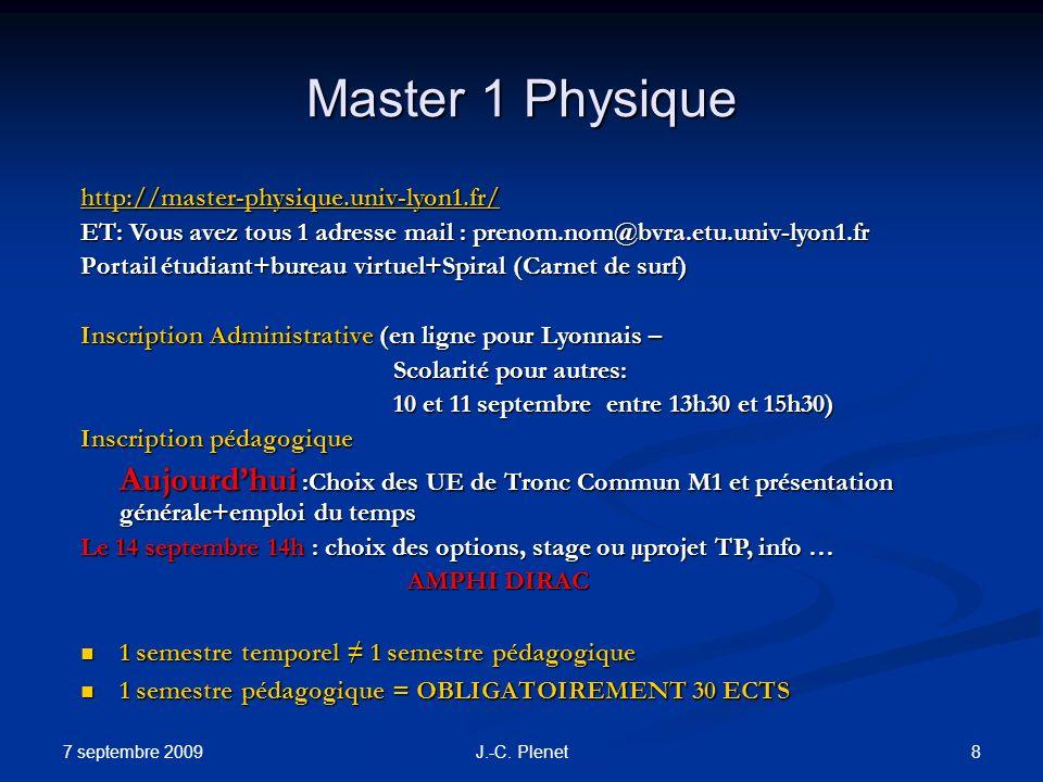 Master 1 Physique http://master-physique.univ-lyon1.fr/