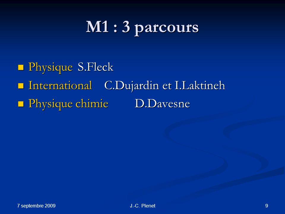 M1 : 3 parcours Physique S.Fleck