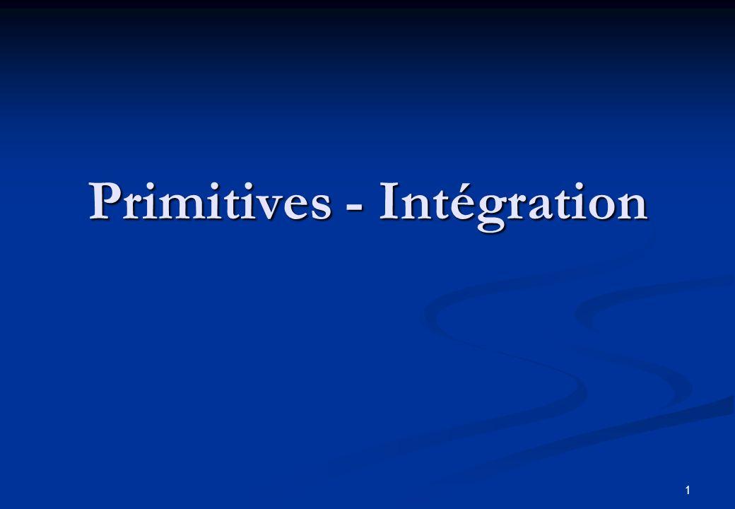 Primitives - Intégration