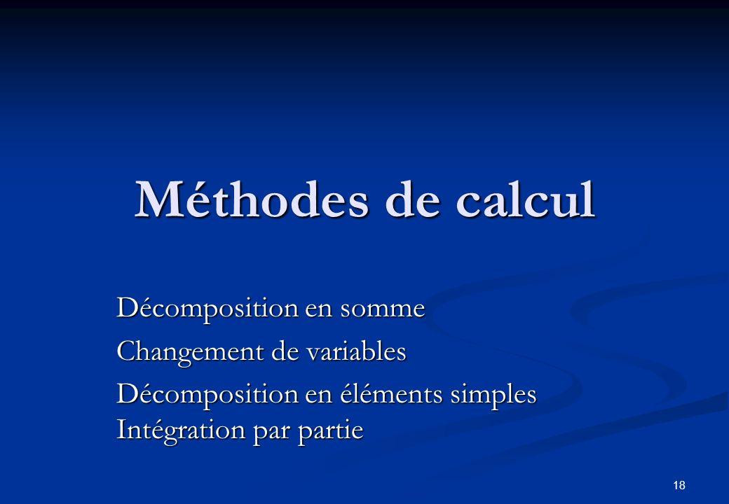 Méthodes de calcul Décomposition en somme Changement de variables