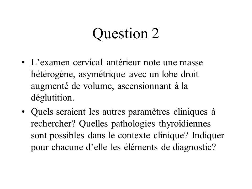 Question 2 L'examen cervical antérieur note une masse hétérogène, asymétrique avec un lobe droit augmenté de volume, ascensionnant à la déglutition.