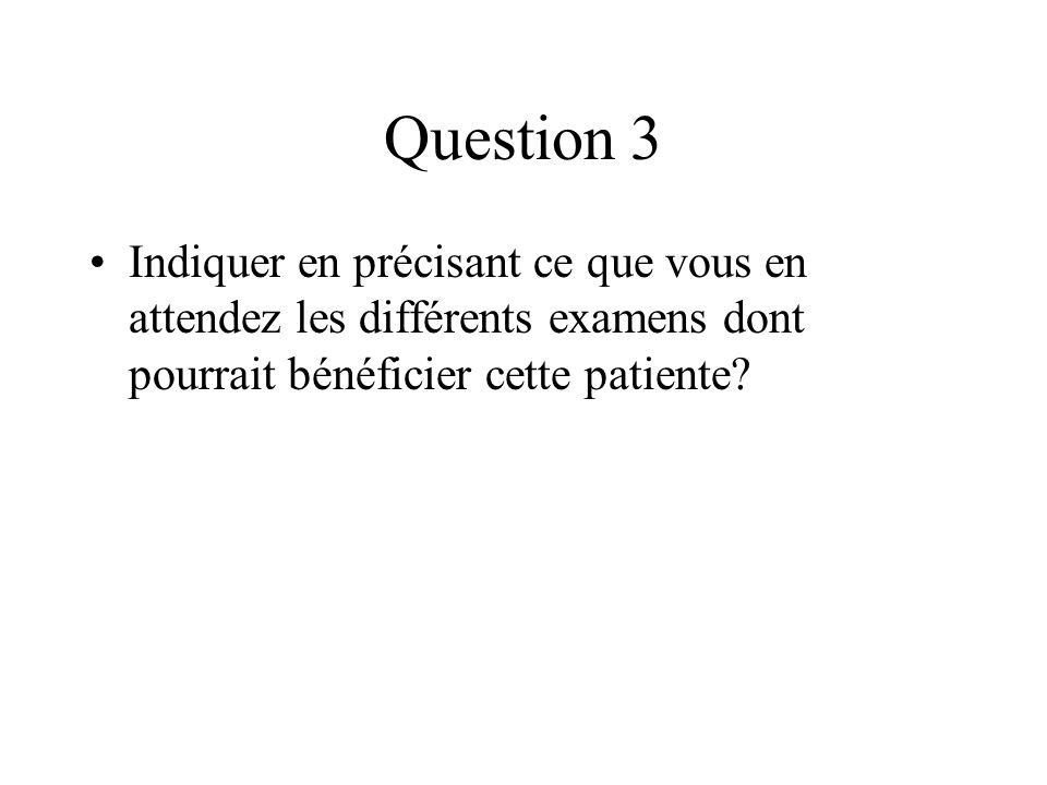 Question 3 Indiquer en précisant ce que vous en attendez les différents examens dont pourrait bénéficier cette patiente