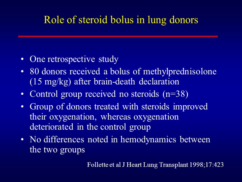 Role of steroid bolus in lung donors