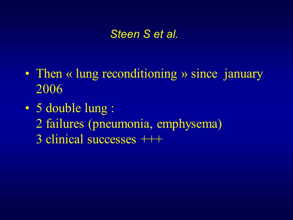 Then « lung reconditioning » since january 2006