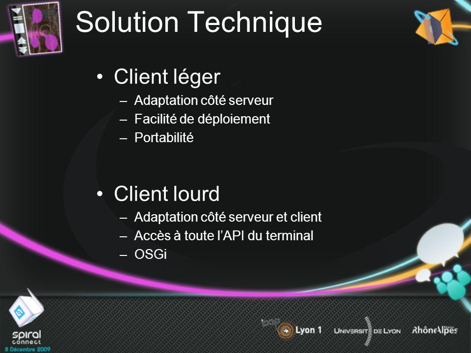 Solution Technique Client léger Client lourd Adaptation côté serveur
