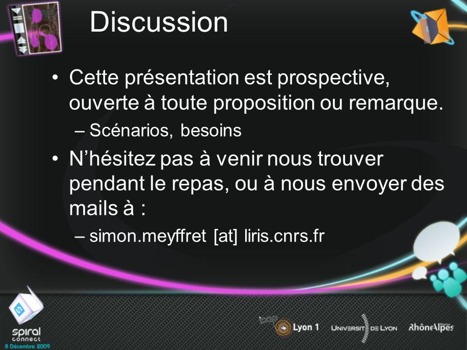 Discussion Cette présentation est prospective, ouverte à toute proposition ou remarque. Scénarios, besoins.