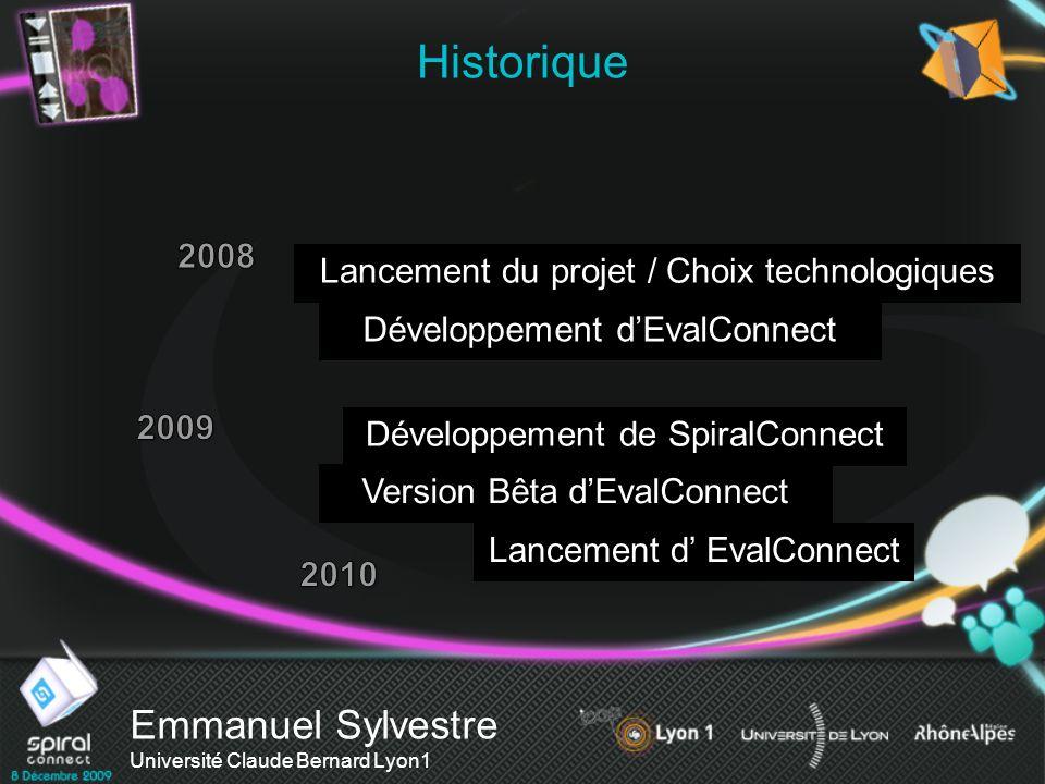 Historique Emmanuel Sylvestre Université Claude Bernard Lyon1 2008