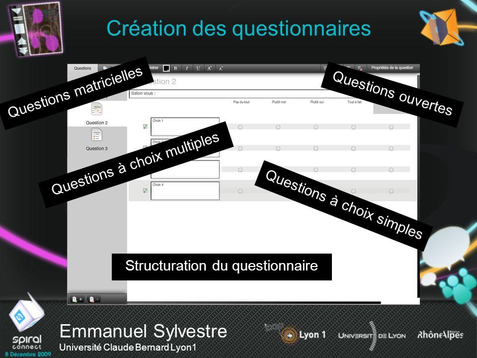 Création des questionnaires