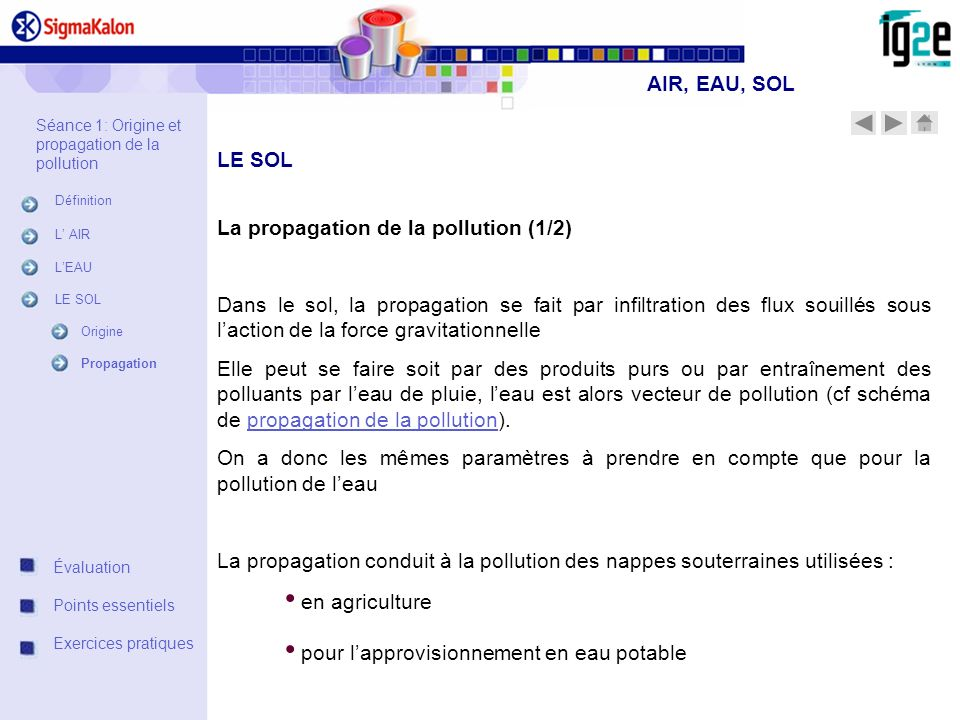 La propagation de la pollution (1/2)
