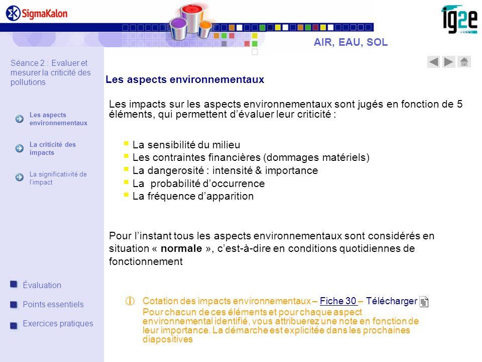Les aspects environnementaux