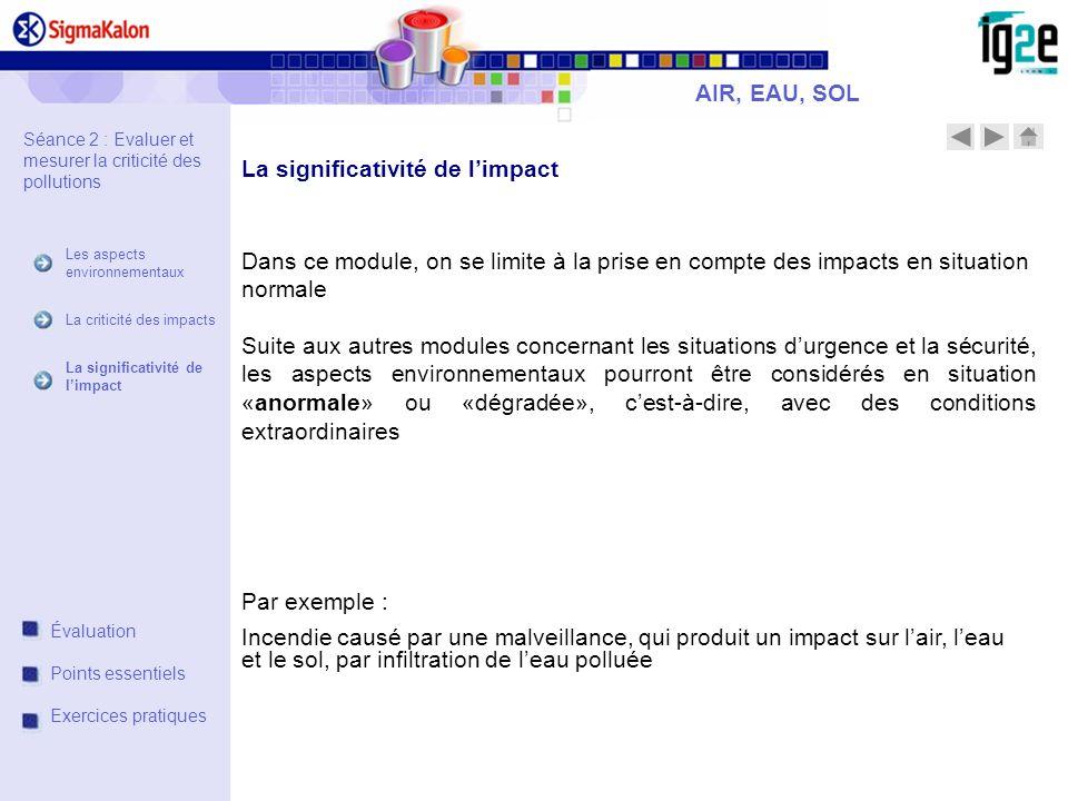 La significativité de l'impact
