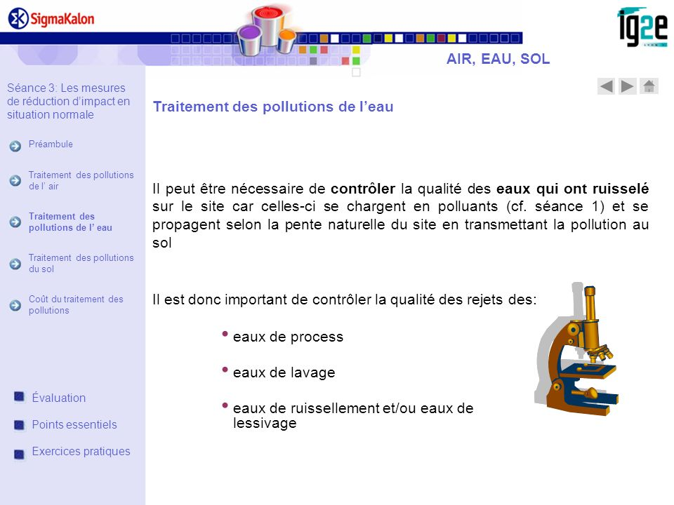 Traitement des pollutions de l'eau
